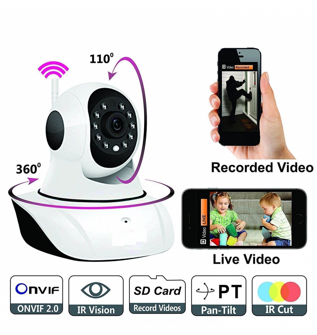 UniZoom WiFi CCTV Wireless IP Indoor Security Camera HD with Night Vision & Recording