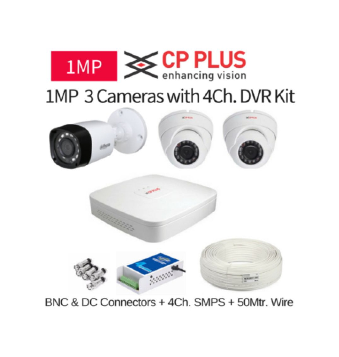 CP Plus 2.4 MP 3 CCTV Camera with DVR Kit with All Accessories