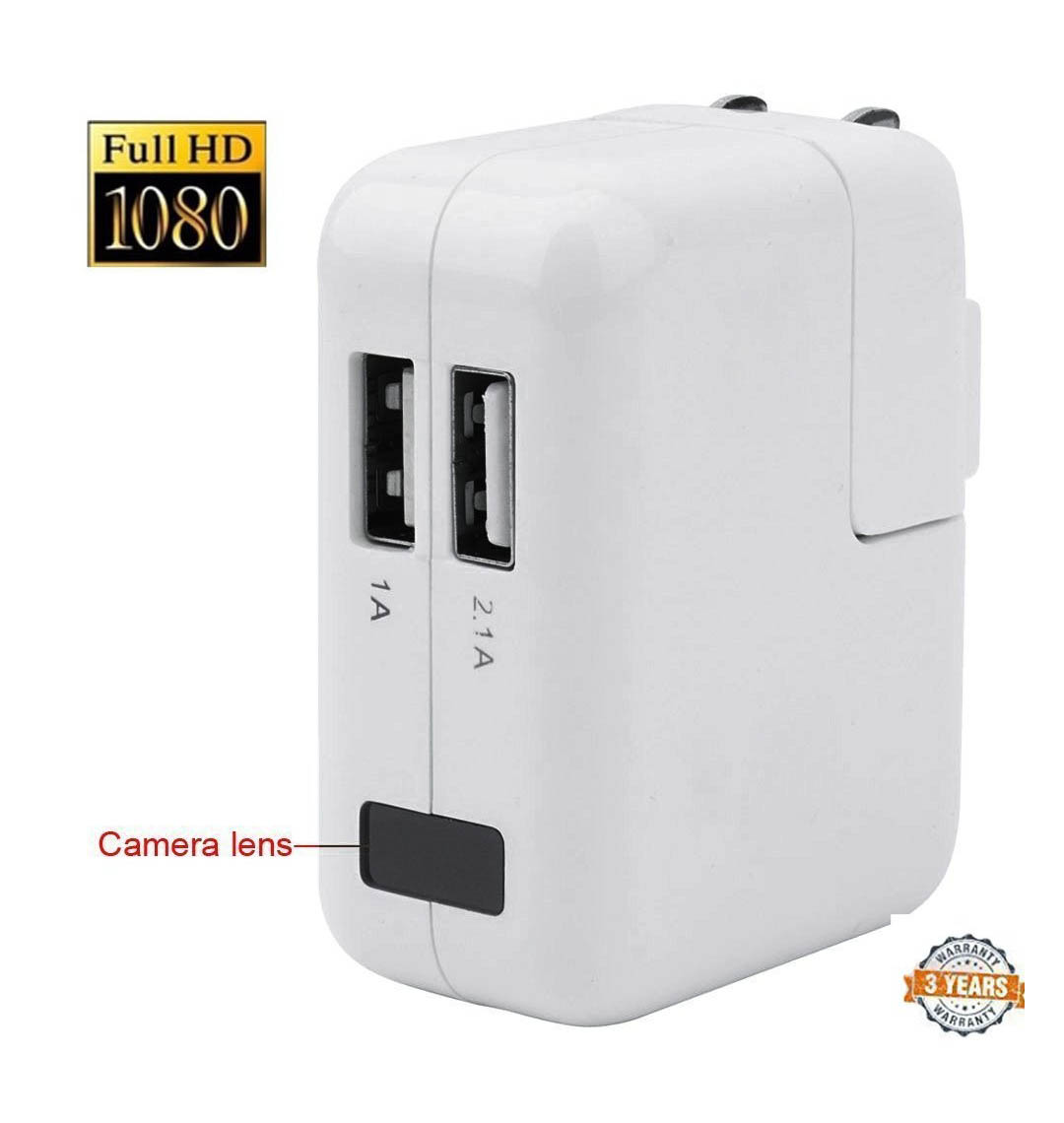 1080P NEW AC power Adapter Wall Charger Spy Hidden Camera Motion loop Recording