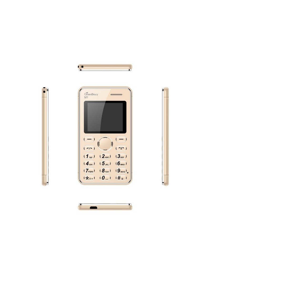 GreenBerry M2 1.77 inch QQVGA Color Display Keypad Ultra Slim Ultra Slim Credit Card Size Light Weight Light Weight MP3 Player -Camera Mobile Phone (Blue,Jet Black,Golden)