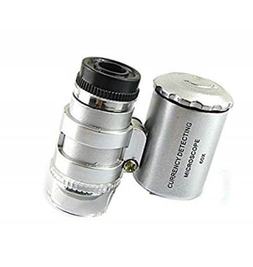 Pocket Mini Microscope 60X Loupes LED Diamond Currency Detection