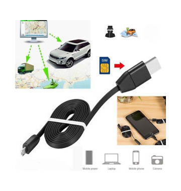 GPS Tracker USB Charging Cable for Vehicles, Luggage - Real Time GSM GPRS System Tracking Device (2-in-1 for iPhone and Android Phone)